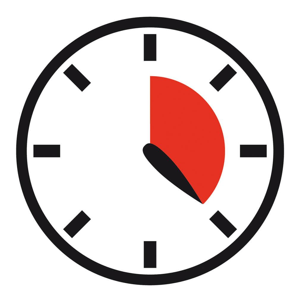 Uhr mit rot markierten 20 minuten