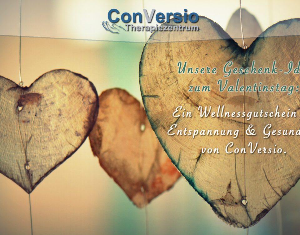 Hinweis auf den Valentinstag. Verschenken Sie zum Valentinstag einen Gutschein von ConVersio