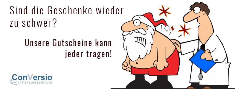 Weihnachtsmann mit schmerzenden Rücken